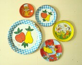 Vintage litho tin saucers plates, 5 piece mini collection, Ohio Art childrens toy dishes, apple pear, monkey, watering can