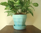 McCoy Pottery aqua planter, basketweave