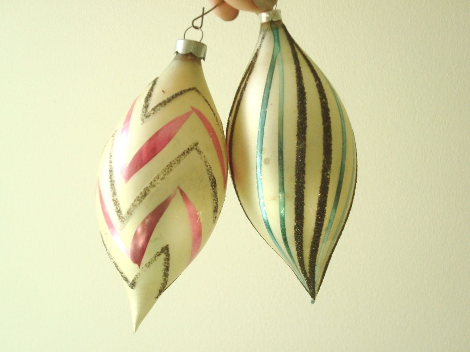 2 vintage German glass Christmas ornaments, pink & green swirl flocked frosted teardrops, large 5