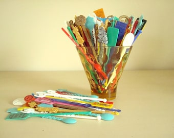 Swizzle stick grab bag, 25, 45 or 65 vintage cocktail drink stir sticks, hand-picked assortments as seen in Country Living