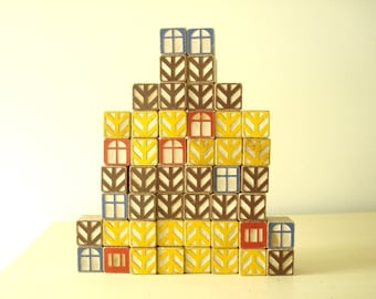 48 building blocks, Scandinavian modern toy blocks, architectural children's block set, educational learning toy