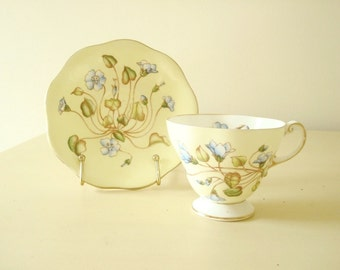 Dwarf Geranium by Foley, English bone china, yellow and lavender blue flowered teacup set, tea party, 22 kt gold trim, collectible china