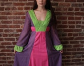 CANDY CIRCUS - Rare Collectible Gunne Sax Dress Semi Sheer Bright Colors Yellow Hearts Label 1960s Small