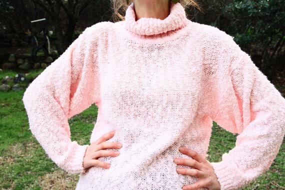 6269df76b3 BUBBLE GUM 1980s 90s Pink Turtleneck Sweater Cowl Neck