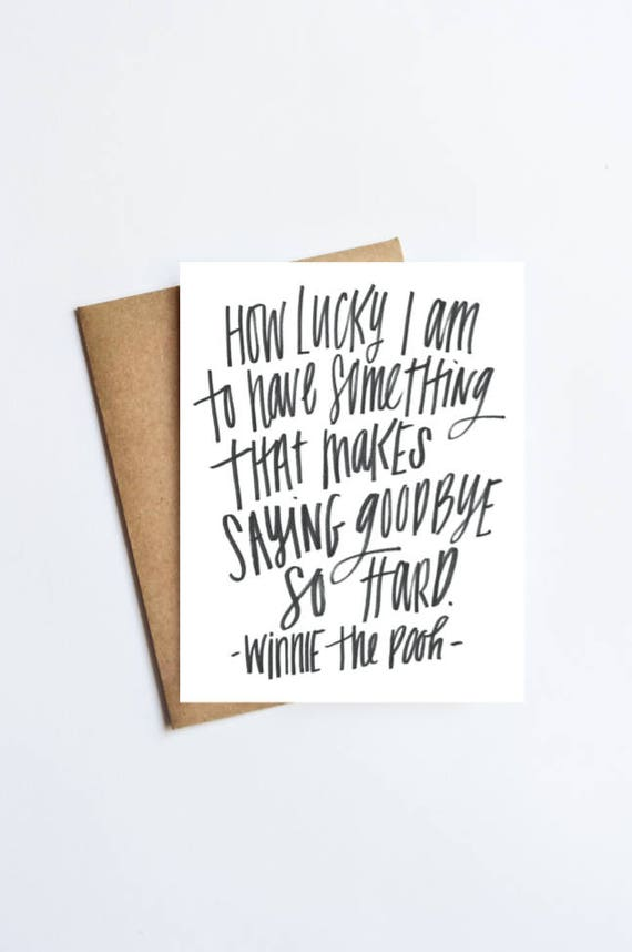 Pooh Quote Saying Goodby So Hard Notecard Free Etsy