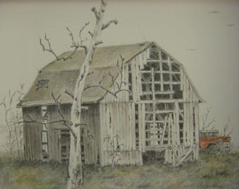 Old Barn Art Truck Cabin Tree Pencil Drawing Watercolor Painting Rural Landscape Rustic Pick Up Country Scene Ohio M3 Artist