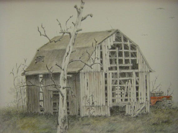 Old Barn Red Truck And Tree Pencil Drawing Watercolor Painting Etsy