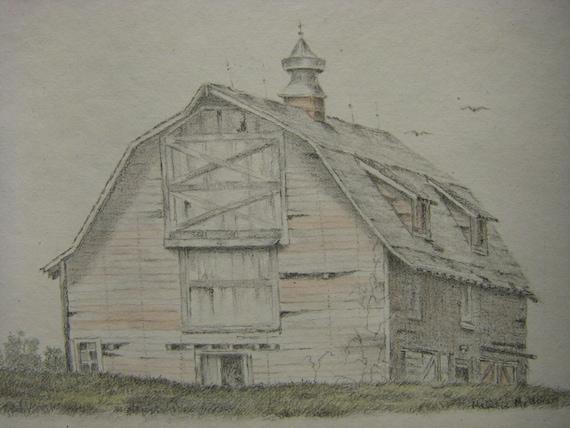 Original Watercolor Graphite Pencil Landscape Old Barn Drawing