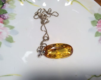 Art Deco yellow topaz glass vintage pendant with  18 inch box chain 1930