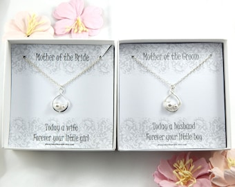 Set of 2 Mother Of The Bride and Mother of the Groom Necklaces, Mother of the Bride and Mother of the Groom Gift,Gift from Son and Daughter