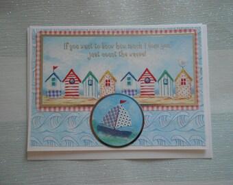 Anniversary Card, Birthday Card, Card For Him, Love Card, Romance Card, Nautical Card, Beach Huts Card, Handmade Birthday Card UK