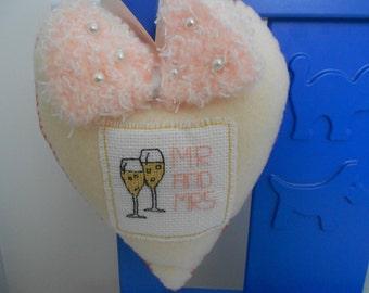 Wedding Heart, Wedding Gift, Gift For Bride, Wedding Keepsake, Cross Stitch Wedding, Handmade Wedding, Mr and Mrs Gift