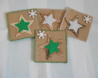 Drinks Coasters, Coaster Set, Star Coasters, Square Coasters, Drinks Mats, Winter Coaster Set, Gift For Her