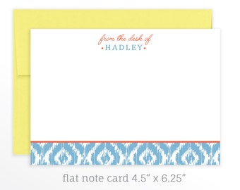 Modern Personalized Stationery Set, Flat Note Cards, From the Desk of Note Cards, Personalized Note Set, Colorful Note Card Set, Stationary