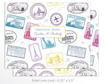 Personalized Travel Note Cards, Greetings from Stationery, Passport Stamps Folded Note Card Set, Personalized Note Cards, Stationery Set