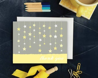 Printable THANK YOU CARD, Yellow and Gray Twinkle, Twinkle Little Star Note Card, Kid's Stationery, Downloadable Notecard, DiY Baby Shower