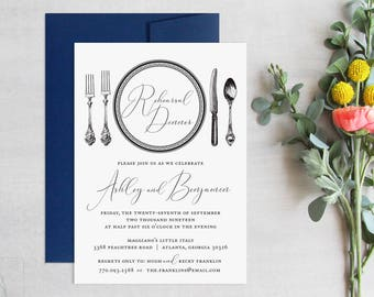 Wedding Rehearsal Dinner Invitations  Elegant Wedding Rehearsal Invitation  Black and White Dinner Party Invitations  Formal Place Setting