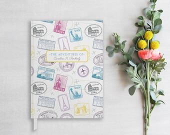 Travel Journal, Personalized Travel Log, Passport Stamp Hardcover Notebook, Custom Hardbound Traveler's Diary