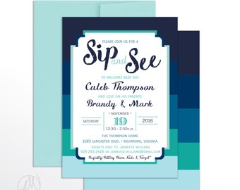 Boy SIP and SEE INVITATION, Boy Modern Baby Shower Sip N See Invitations, Blue Striped Printable Party Invitation, Printed Invites - Brandy
