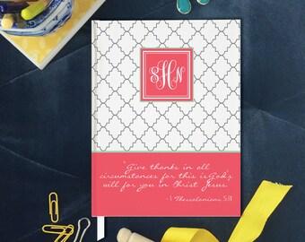 La Saint-Valentin cadeau idée, Gratitude Journal monogramme, personnalisé Bible étude cahier de couverture rigide, verset grâce en toutes circonstances