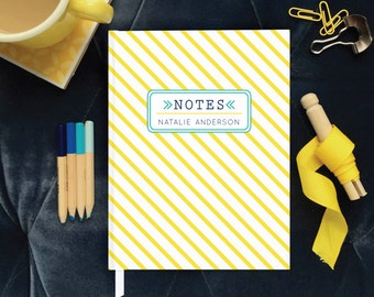 Hardbound Personalized Notes Book, Yellow Striped Custom Journal, Pregnancy Journal, Quotes from Kids Notebook, Personalized Gift for Her