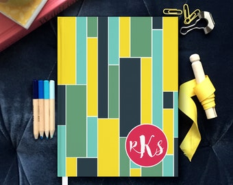 Custom Monogrammed Journal, Colorblock Journal Personalized, Hardback Notebook, Colorful Pregnancy Journal, Personal Note book with Initials