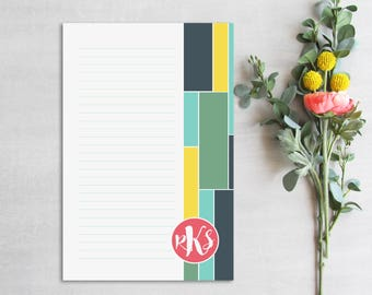 Personalized Notepad, Monogram Notepad, Custom Note Pad, Stationery, Notepad with lines, Gift for her, Teacher Notepad, Monogrammed Notepad