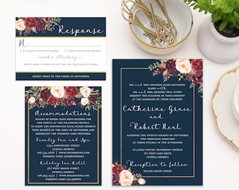 Navy Floral Wedding Invitation Set, Fall Wedding Invitations, Romantic Wedding Invitation Suite, Wedding Invitations Roses, Burgundy White