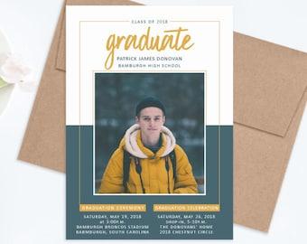 Male Graduation Invitation, Class of 2018 Announcement, Photo Graduation Invitations, Boy Graduate Announcement, Graduation Party Invitation