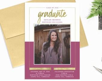Graduation Party Invitations, Purple Gold Graduation Invitation, Photo Graduate Announcement, High School Graduation Invitations Printed