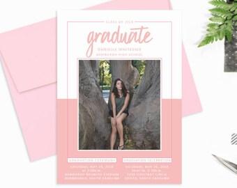 Pink and White Graduation Announcement, Photo Graduation Invitation, Graduation Party Invitations 2018, High School Graduate Announcement