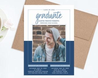 Graduation Invitation for Guys, Graduation Party Invitations 2018, Boy Graduate Announcement, College Graduation Announcement, Navy and Blue