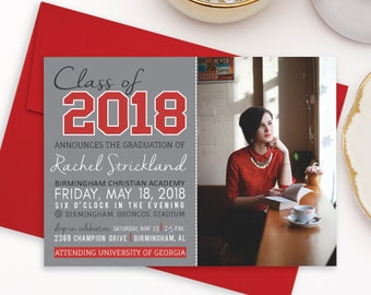 Class of 2018 Graduation Announcement, Gray and Red High School Graduation Party Invitation, Photo Graduation Celebration Invitations