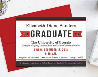 College Graduation Announcement, Red and Black Graduation Invitation, Graduate School Commencement Invitation, Graduation Party Invitations