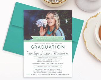 High school graduation invitation  College graduation party invitations 2018  Graduation announcements  Class of 2018 graduation invitations