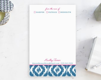 Stylish Mom Notepad, Personalized Notepad for Mom, From the Mom of Notepad, Personalized Ikat Stationery for Mom, Personalized Gift for Mom