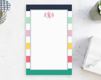 Bloc-notes monogrammé, papeterie personnalisée avec des initiales, bloc-Note rayée Preppy pour elle, fournitures de bureau personnalisé, sous-main avec monogramme