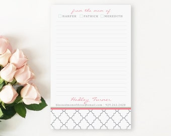 From the Mom of Personalized Notepad, Stylish Notepads, Lined Notepad, Preppy Stationery, Pink and Mint Green Notepads, Gift for Mom Notepad