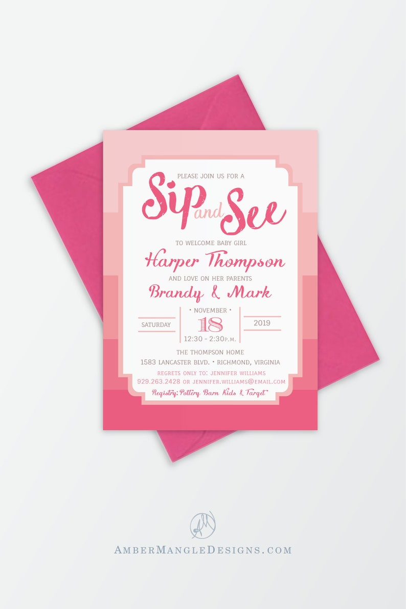 Girl Sip And See Invitation Pink Baby N Invitations Chic Shower