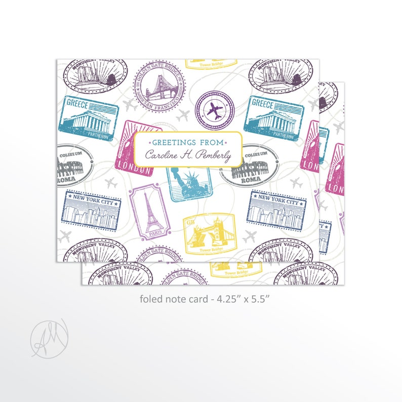 Personalized Travel Note Cards Greetings from Stationery image 0