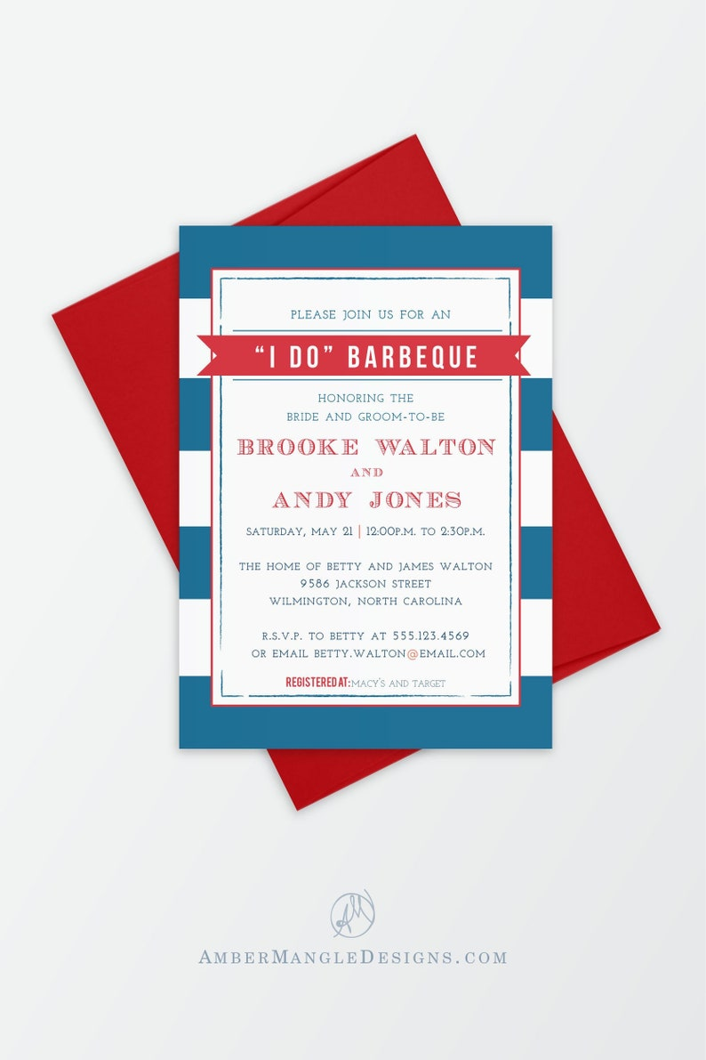 Wedding Rehearsal Dinner Invitation  Red White and Blue I Do image 0