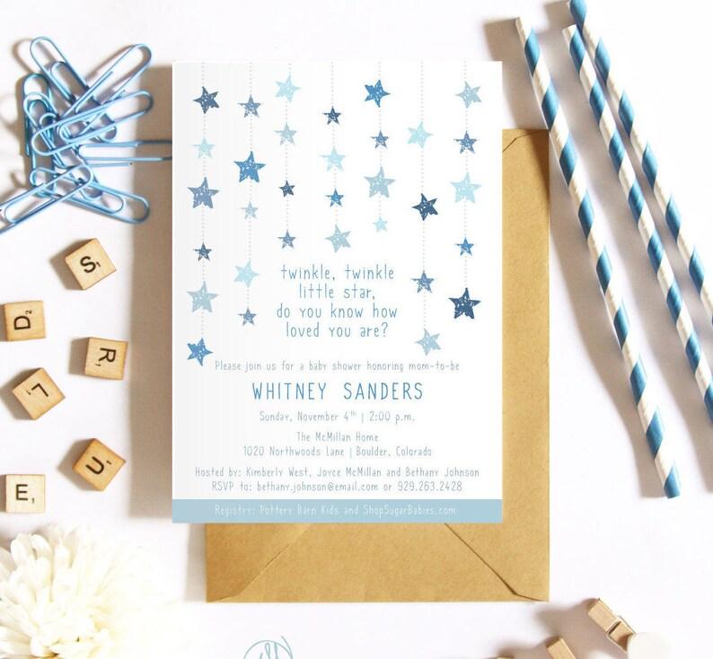 Twinkle Twinkle Little Star Baby Shower Invitation Blue Star image 0