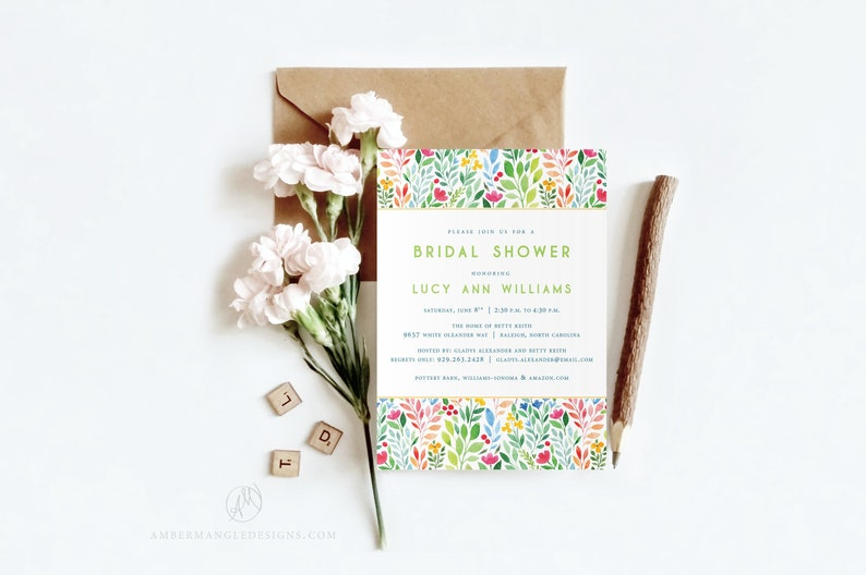 Floral Bridal Shower Invitation  Elegant Watercolor Flowers image 0