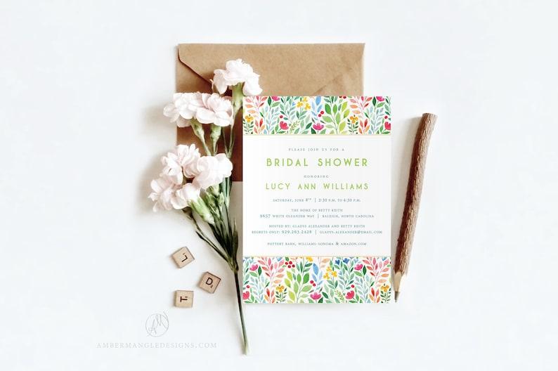 Floral Bridal Shower Invitation  Elegant Watercolor Flowers image 0