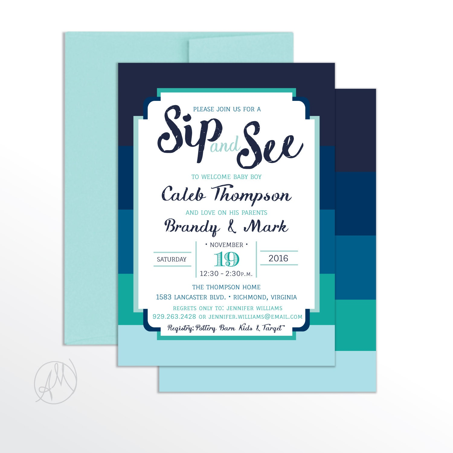 Boy SIP and SEE INVITATION Boy Modern Baby Shower Sip N See | Etsy
