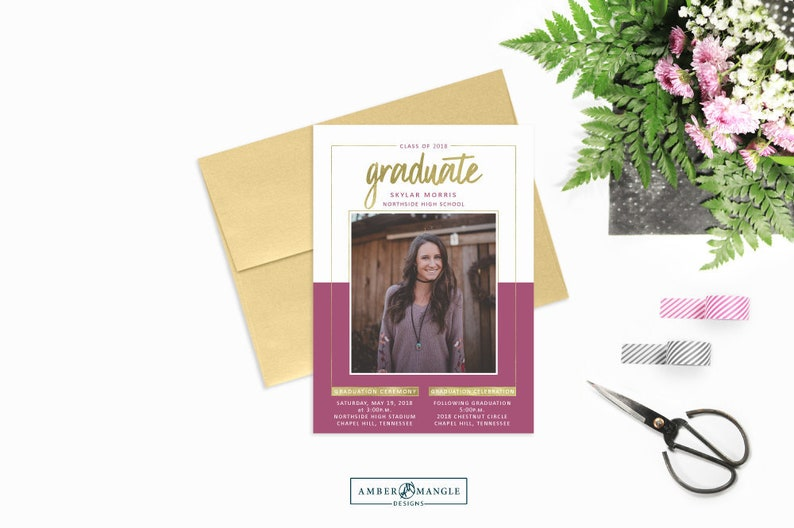 Purple And Gold Graduation Announcement 2018 Invitation With Photos Printed Or Printable Announcements