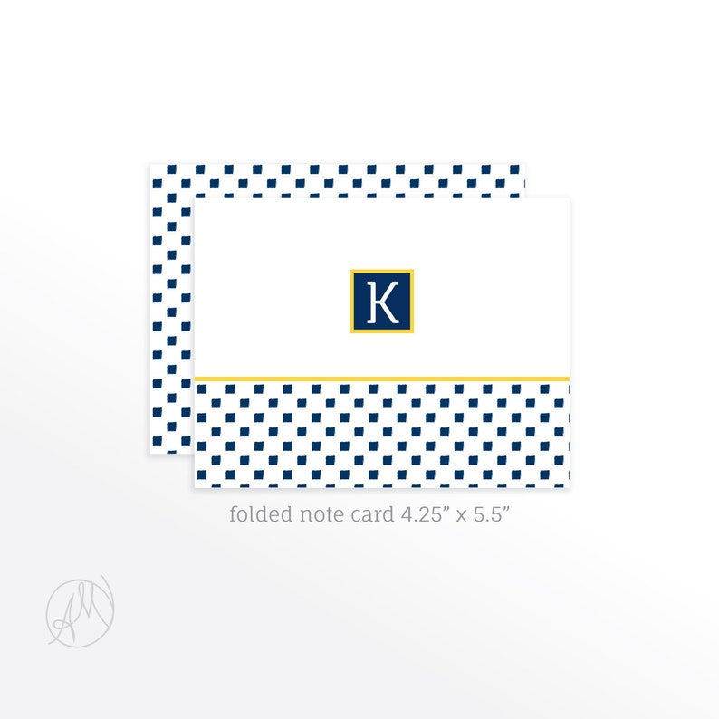 Folded Note Cards  Personal Stationery Blue and White image 0