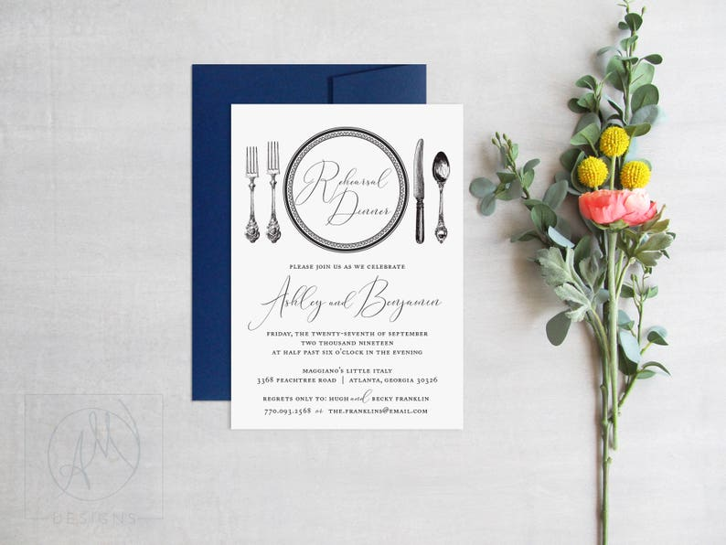 Wedding Rehearsal Dinner Invitation  Elegant Rehearsal image 0