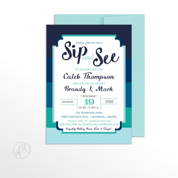 Boy SIP And SEE INVITATION Modern Baby Shower Sip N See Invitations Blue Striped Printable Party Invitation Printed Invites