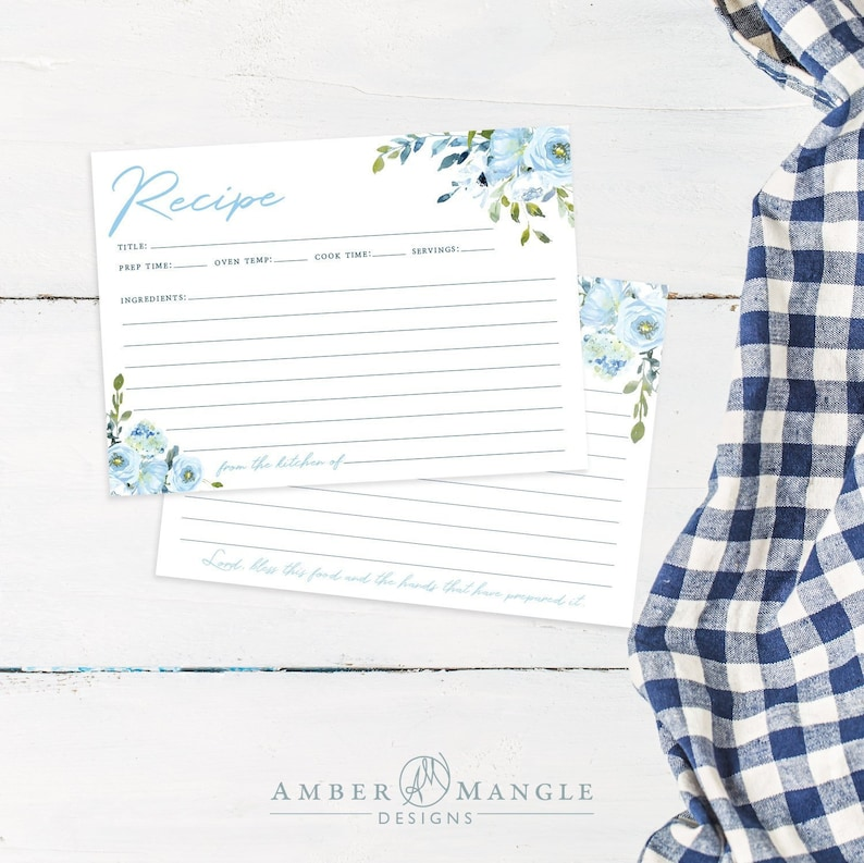 Floral Recipe Cards for Bridal Shower Recipe Card Printable image 0